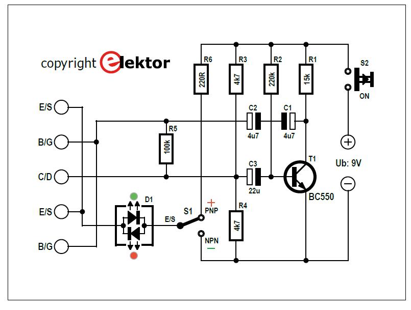 تستر ترانزیستور دو رنگی